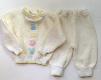 Adorable Vintage Two Piece Baby Sweater Set