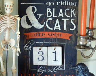 """Distressed Wood Word Halloween Countdown Advent Sign """"When Witches Go Riding"""" Salvaged Architectural Vintage Feel Tags"""