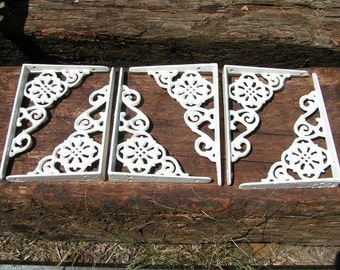 SIX Small Cast Iron Wall Shelf Brackets Corbel VICTORIAN Braces WHITE