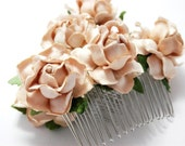Taupe Cream Rose Hair Comb Creamy Floral Clip Set of Two Bridal Flower Accessory