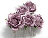 Purple Rose Floral Hair Comb Set of Two Lilac Bridal Flower Accessory