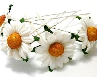 White Daisy Floral Hair Pin Set/ Bridal/ Wedding Hair Accessories/ Bridesmaid Hair Pin/ Wedding Flower Pins