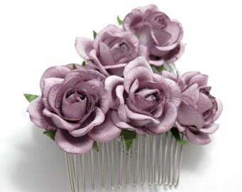 Dusty Purple Rose Floral Hair Comb Set/ Traditional/ Bridal/ Wedding Hair Accessories/ Bridesmaid Hair Piece/