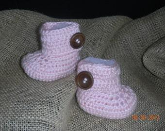 Pink Baby Crochet  Boot; Baby Booties; Crochet Baby Booties; Crochet ugg Boots