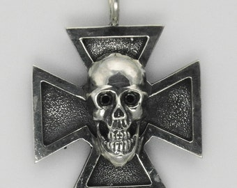 ROYAL 925 Biker Jewelry. Skull and German Cross Pendant. Sterling Silver. Motorcycle Jewelry. New. Made in USA. Original and Unique Jewelry.