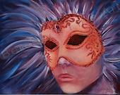 "FREE SHIPPING  9""x12"" Original Fantasy Mask Painting by Alexandra H. Beressy  "" Wind"""