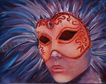 "FREE SHIPPING  9""x12"" Original Fantasy Mask Painting by Alexandra H. Beressy  "" Wind"""