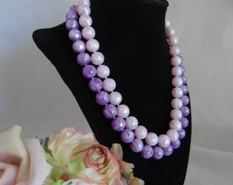 Vintage Double Strand Necklace with Pink and Purple Swirl Beads - So Cute