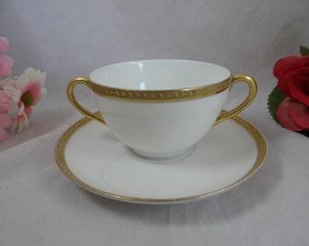 Vintage Haviland Limoges France Footed Cream Soup Bouillon Bowl and Saucer
