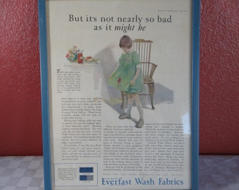 """Vintage July 1923 Framed Advertising Page from McCalls Magazine """"Everlast Fabrics"""" Cleaning"""