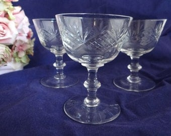 Set of Three - Etched Glass Stemware - So Beautiful