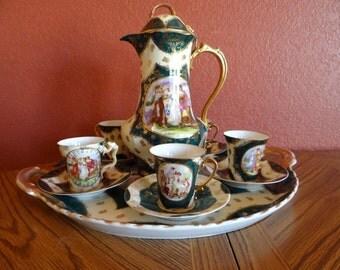 Spectacular 1900s Victoria Schmidt  Austria Coffee Chocolate Tea Set