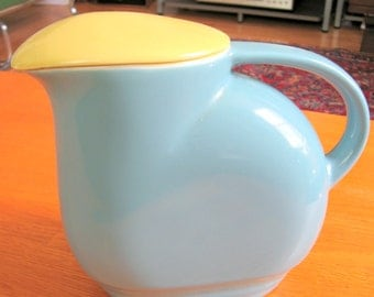 1950s Moderne Refrigerator Pitcher with Lid Exclusively for Westinghouse by The Hall China Co.