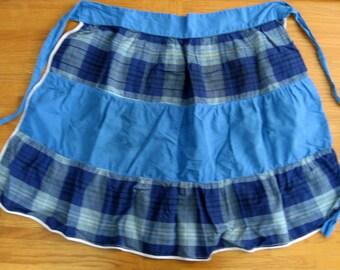 1950s-60s Blue Plaid Waist Apron