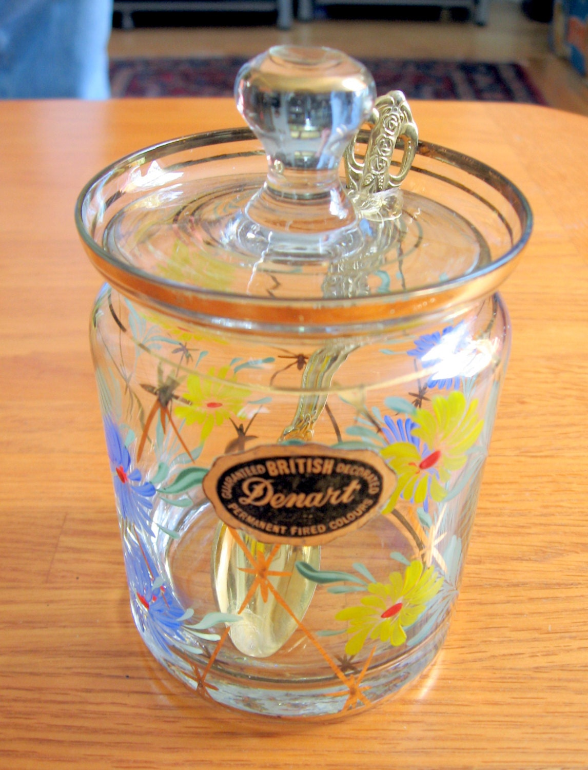 1950s 60 english mini jam jar with gold and floral. Black Bedroom Furniture Sets. Home Design Ideas