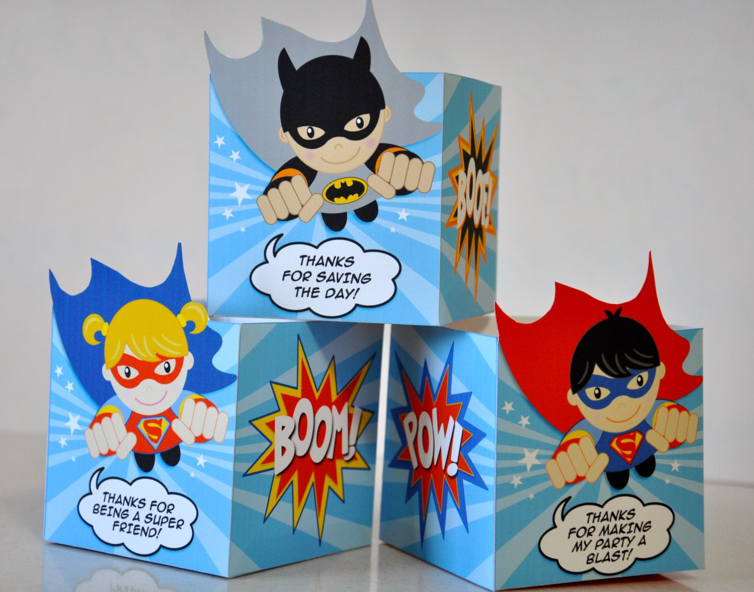 Super Heroes Party Treat Favor Popcorn Boxes With Flying
