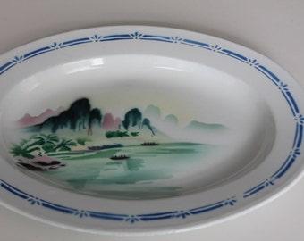 Vintage Enamelware White Blue Platter Coastal Mountain Scene