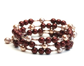 Burgundy Memory Wire Bracelet with Swarovski Crystal Pearls in Bordeaux Almond and Rose Gold - Fall Wedding, Wine
