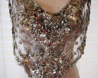 Vintage metallic sequined bib collar, shawl, scarf, steampunk, hollywood regency, Sharmark, Las Vegas