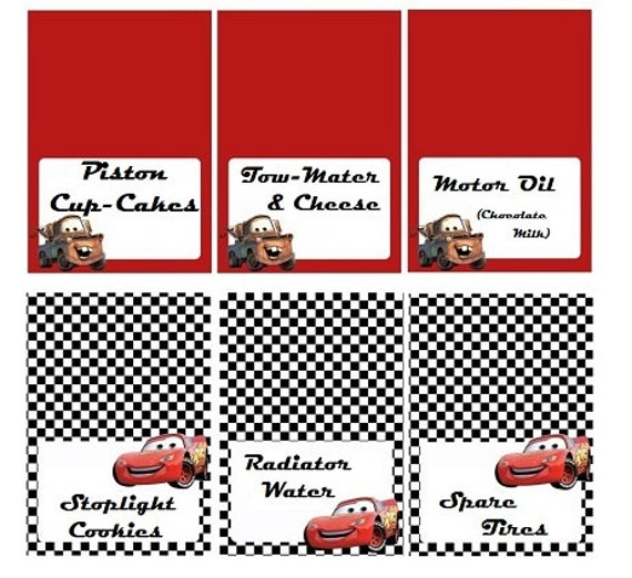 Disney Cars Food Labels Personalized by LittleBugShoppe on Etsy