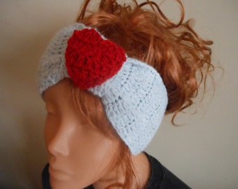 Crochet Headband  Ear Warmer Head Warmer Grey With Red Heart Gift Valentine's Day