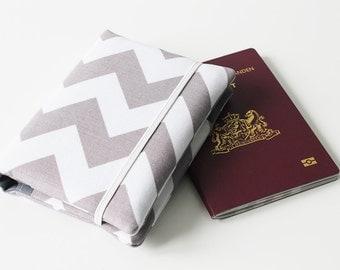 Passport Wallet, Travel Wallet, Travel Organizer, Passport Cover for 2 (Two), 3 (Three) or 4 (Four) passports - Choose Fabric - Chevron