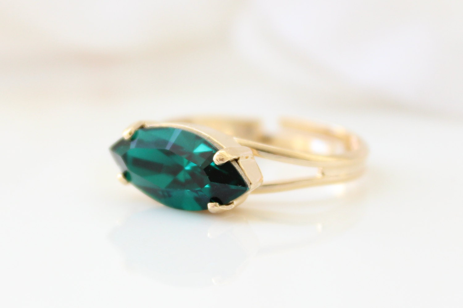 emerald ring marquise cut cocktail ring gold by