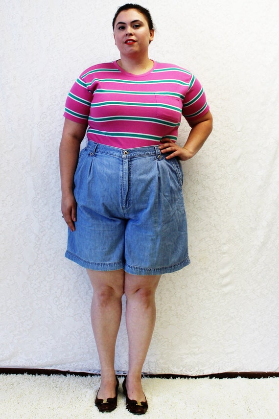 CLEARANCE Plus Size Vintage Denim Pleated High Waist