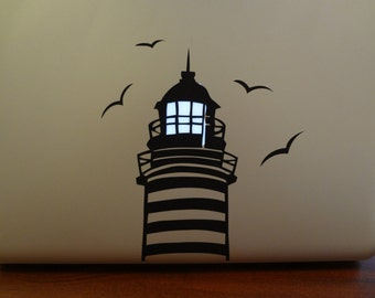 2 Lighthouse Decal MacBook Pro 13 15 17 PC Mac Laptop Decal Sticker Seaside Lamp Light up Glow Seagull Salt Ocean Life Glowing Light Gift