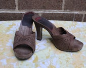 "Dark Gray Vintage Mules 4"" Heel Leather Sz 5 Retro 1970s Fall Fun  Sandals"