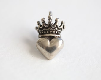 Sterling Silver Irish Claddagh Crown Heart Charm - lightly oxidized 925 silver pendant