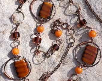 Copper Hoops w/ Brown and Orange Beads Linked necklace