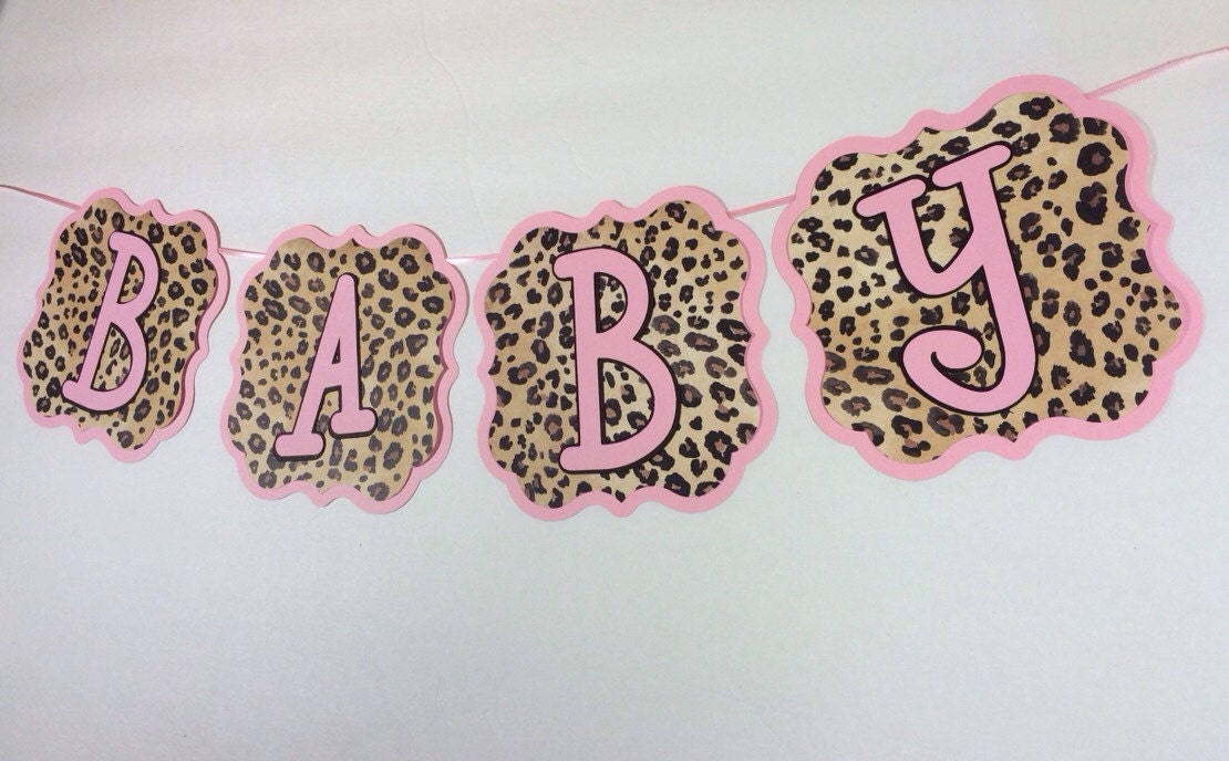 pink and cheetah print baby shower banner