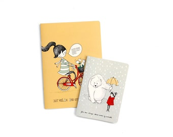 "set notebooks A5 ""Enjoy the ride"" + A6 ""Umbrella girl"""