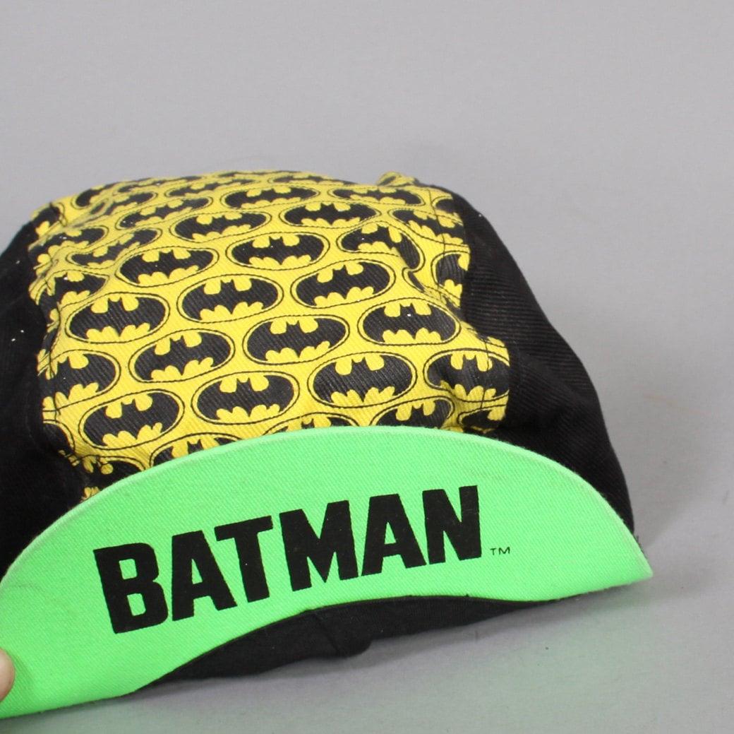Vintage s batman hat black neon bat logo cycling bike