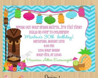 DIY Tiki Invitation -Personalized Invitation by Serendipity Party Shop