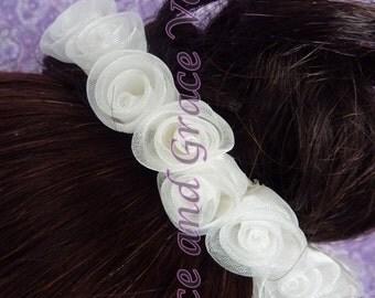 Light Ivory Organza Roses (jj) Bun Wrap
