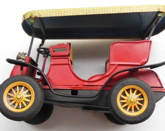 Vintage Pressed Tin Friction Toy Touring Car Made In Japan