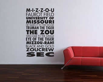 Mizzou Missouri University Sports Subway Art Vinyl Wall Word Decal