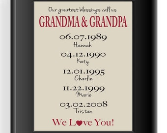 Personalized Grandparents Gift Grand kids Birth dates print
