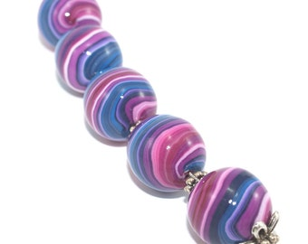 Round stripes beads, Polymer Clay beads in pinks and purple, Set of 5 unique beads