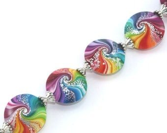 Polymer Clay beads in rainbow colors, unique spiral Focal beads, colorful swirl lentil beads with tiny silver dots, set of 6 Elegant beads