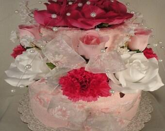 Pastel Pink Bridal Shower Towel Cake - Wedding Gift -  Shower Centerpiece - Bridal Shower Decoration