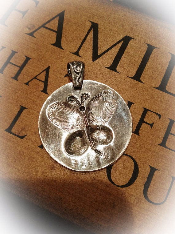 Fingerprint jewelry butterfly pendant in fine by for Fingerprint jewelry by first impressions