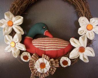 Fall Bird wreath/Fabric flower wreath/Fall wreath/Wedding wreath/Holiday wreath/Autumn wreath/Shabby chic wreath/Country wreath/Bow wreath