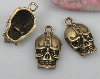 14pcs antiqued bronze color skull charms EF0527