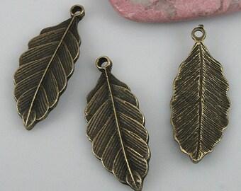 22pcs antiqued bronze color leaf charms EF0541