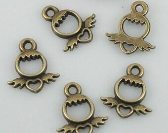 100pcs antiqued bronze color heart charms EF0555