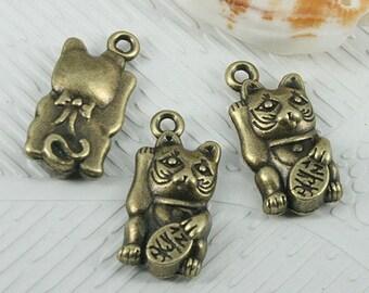 16pcs antiqued bronze color Fortune cat design charms EF0574