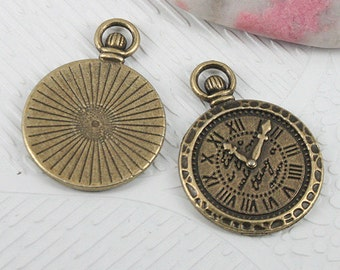 12pcs antiqued bronze color clock design charms EF0608